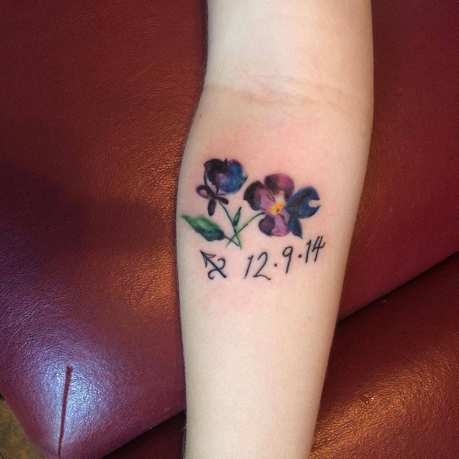 Watercolour violet tattoo by solarkei on DeviantArt
