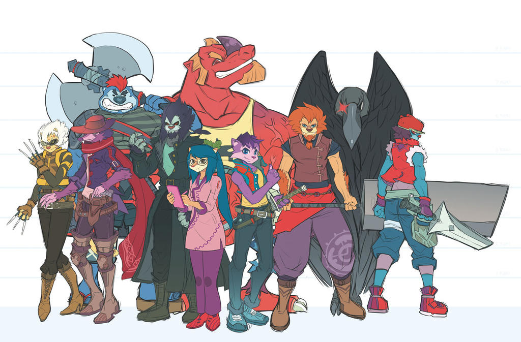 Characters Line Up by purplewurks