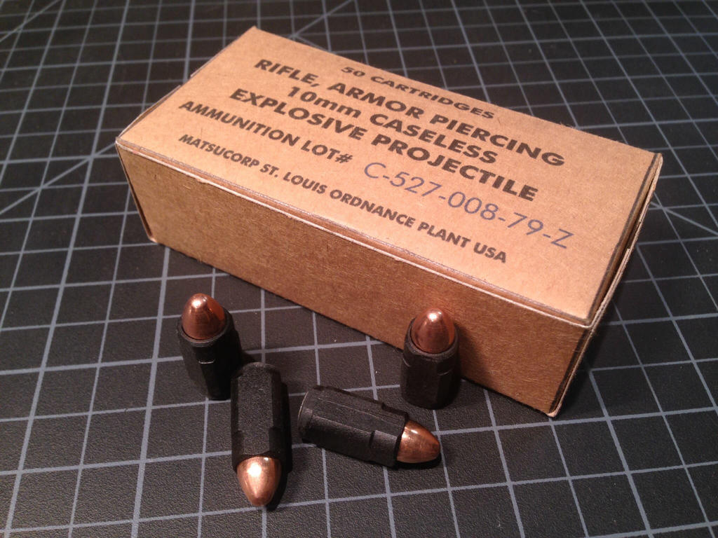 USCM 10mm Caseless Ammo and box by Matsucorp