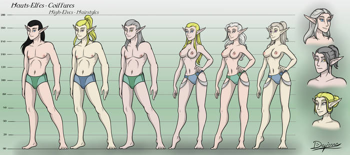 High elves - Morphology and hairstyles
