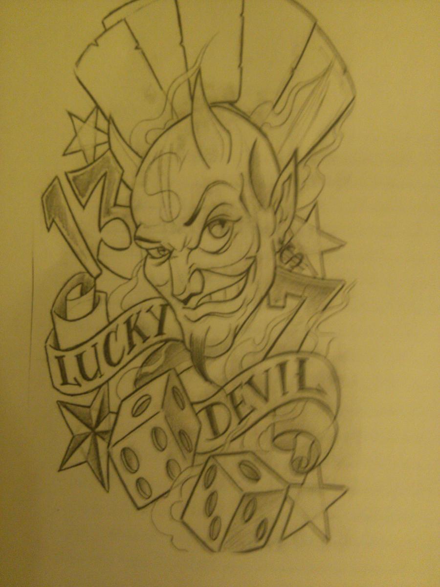 Luky Devil tattoo sketch by shinykomodiver1994 on DeviantArt