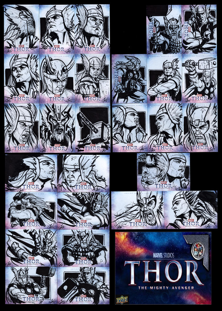 Thor sketch cards by gattadonna
