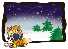 Conker and Pipsy in winter by Ribbedebie