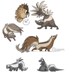 A bunch of cartoony skunks