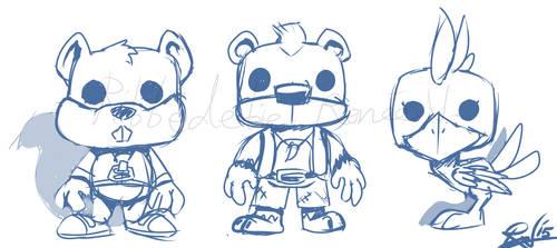 Conker, Banjo, and Kazooie in Funko Pop style