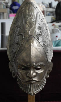 Frontshot of ceremonial helmet