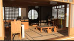 Japanese Interior Design and Render full view