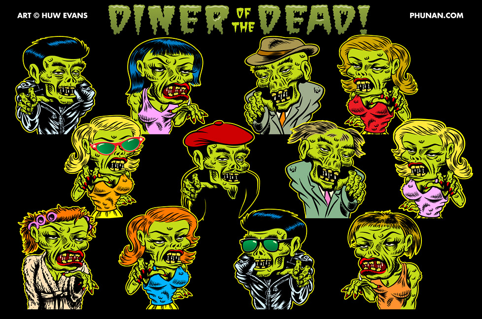 Diner of the Dead Zomb Family by Huwman