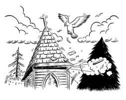 Church Explosion Illo by Huwman