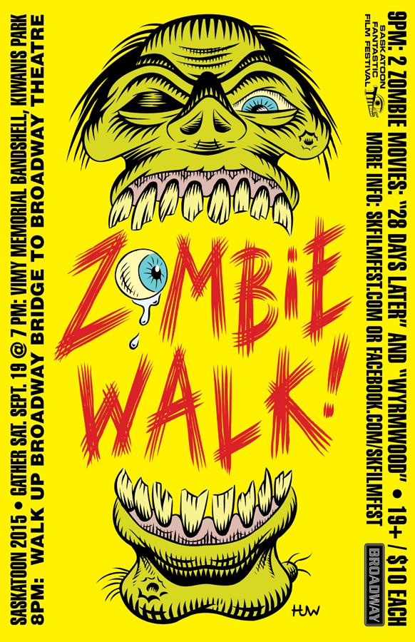 Saskatoon ZOMBIE WALK Poster 2015 by Huwman