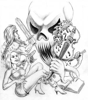 Rough Pencils for 'Instruments of Evil' Poster