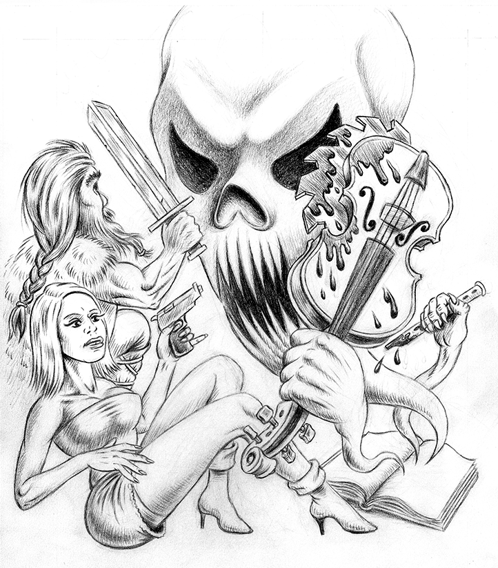 Rough Pencils for 'Instruments of Evil' Poster by Huwman