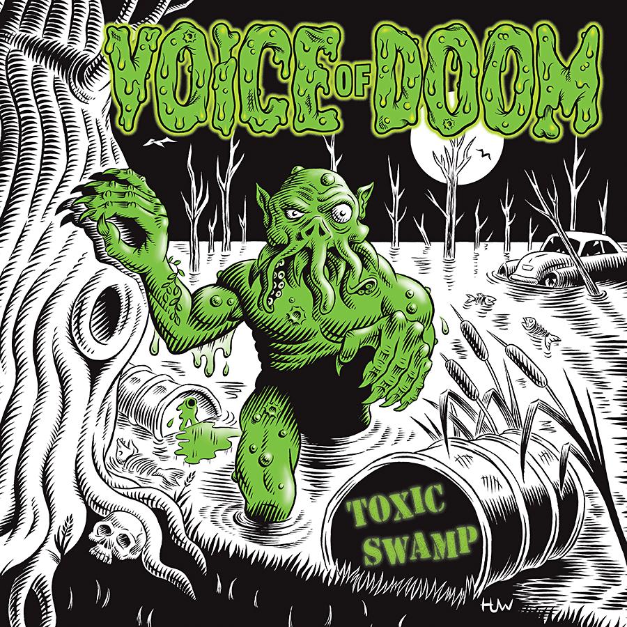 VOICE of DOOM Art for 'Toxic Swamp' vinyl release by Huwman