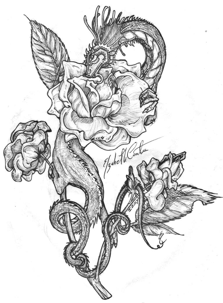 Dragon 39 s rose by ohkey freeflyer on deviantart for Cool rose coloring pages