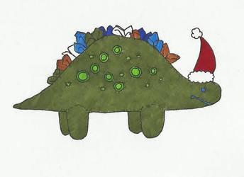 Christmas Card Dinosaur by Josiebeebee