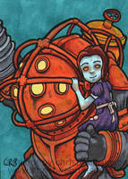 Sketchcard - Big Daddy with Little Sister by StineTheKitty