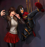 My Commission: Photoshoot with Jessica Drew by gh0st-of-Ronin