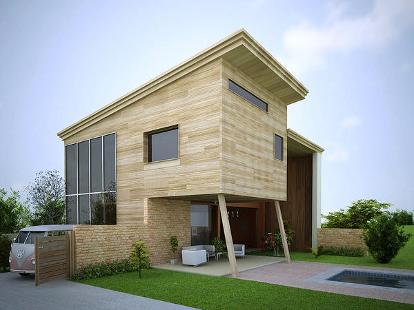 Simple wood house by grafix3d on deviantart for Minimalist house wood