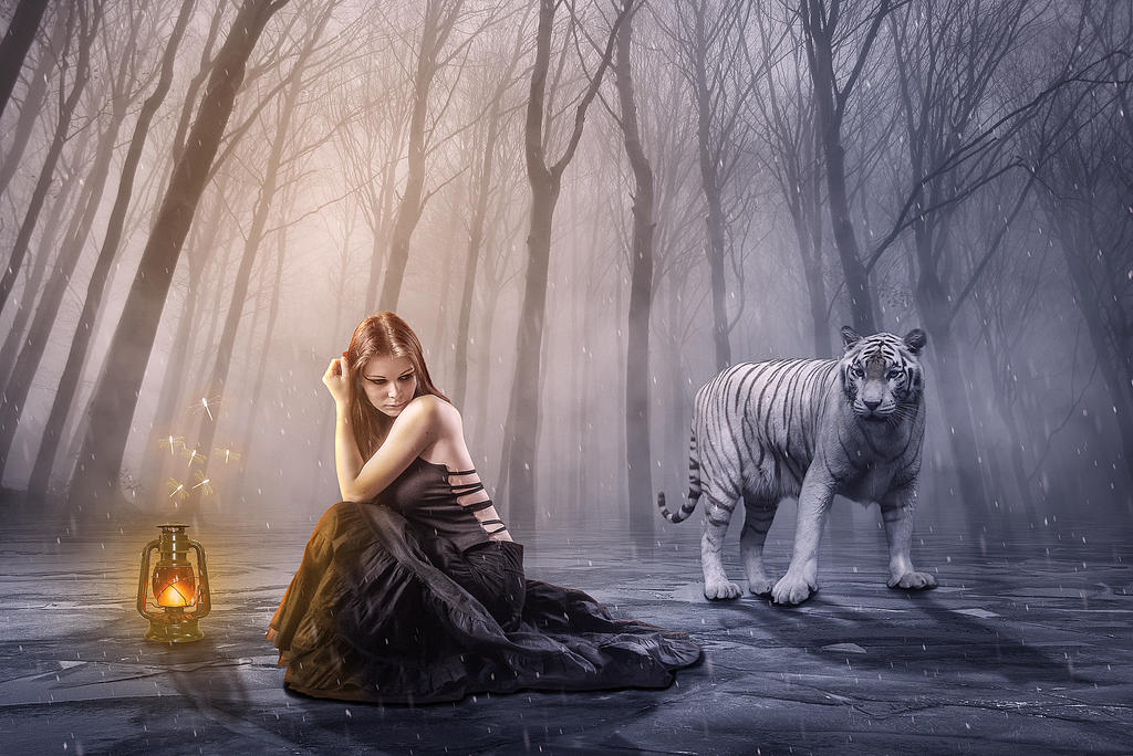 Girl and Tiger by annie1001