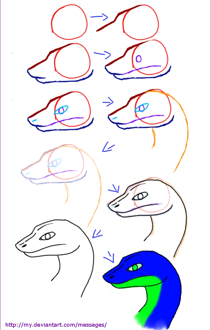 how to draw snake head step by step