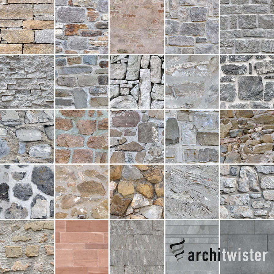 25 Seamless Stone Wall Textures by architwister
