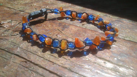 amber and blue glass anklet
