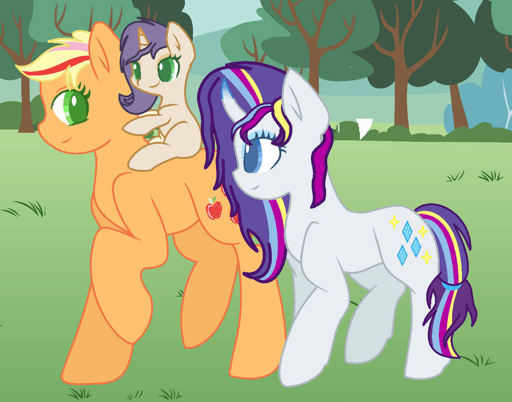 Rarity And Aj Walking Togther