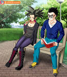 Commission - Kefla and Gohan in the park