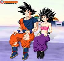 Commission - Goku and Caulifla after training by FoxyBulma
