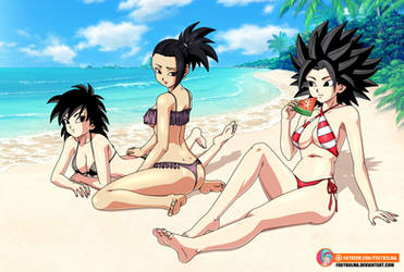 Commission -  Gine, Kale and Caulifla on the beach by FoxyBulma