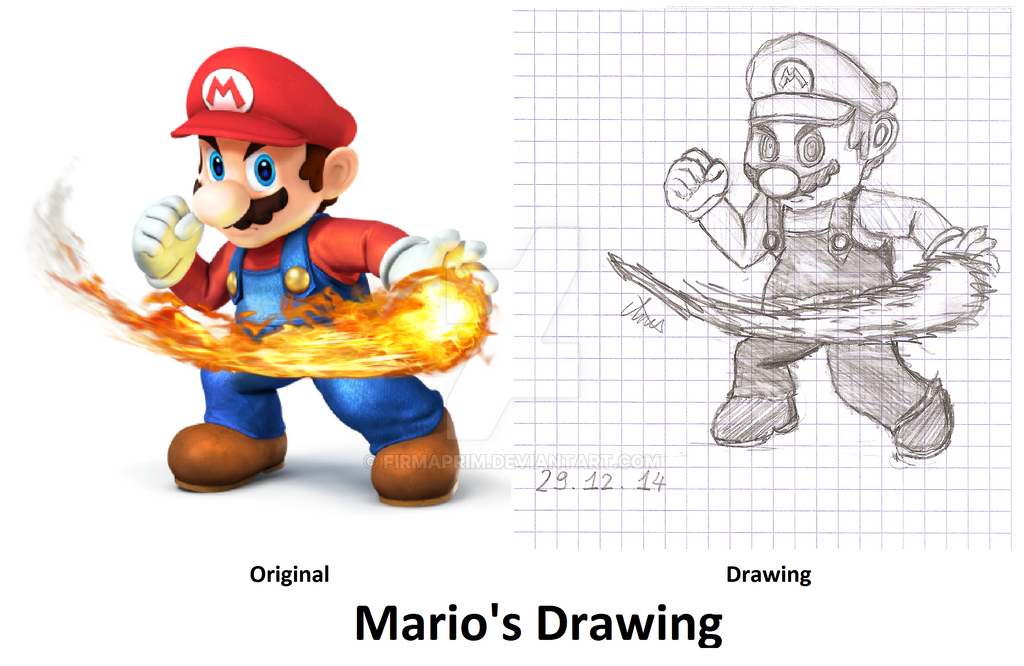 Marios Drawing From Super Smash Bros 3DS And WiiU By Firmaprim