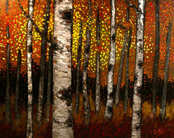 Birch Trees in Fall Forest by DeLumine