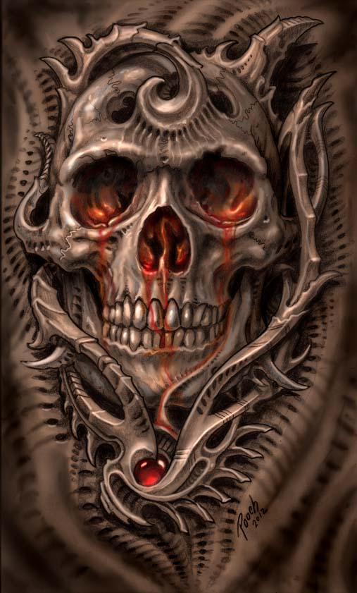 Biomech Bloodskull by tat2pooch on DeviantArt