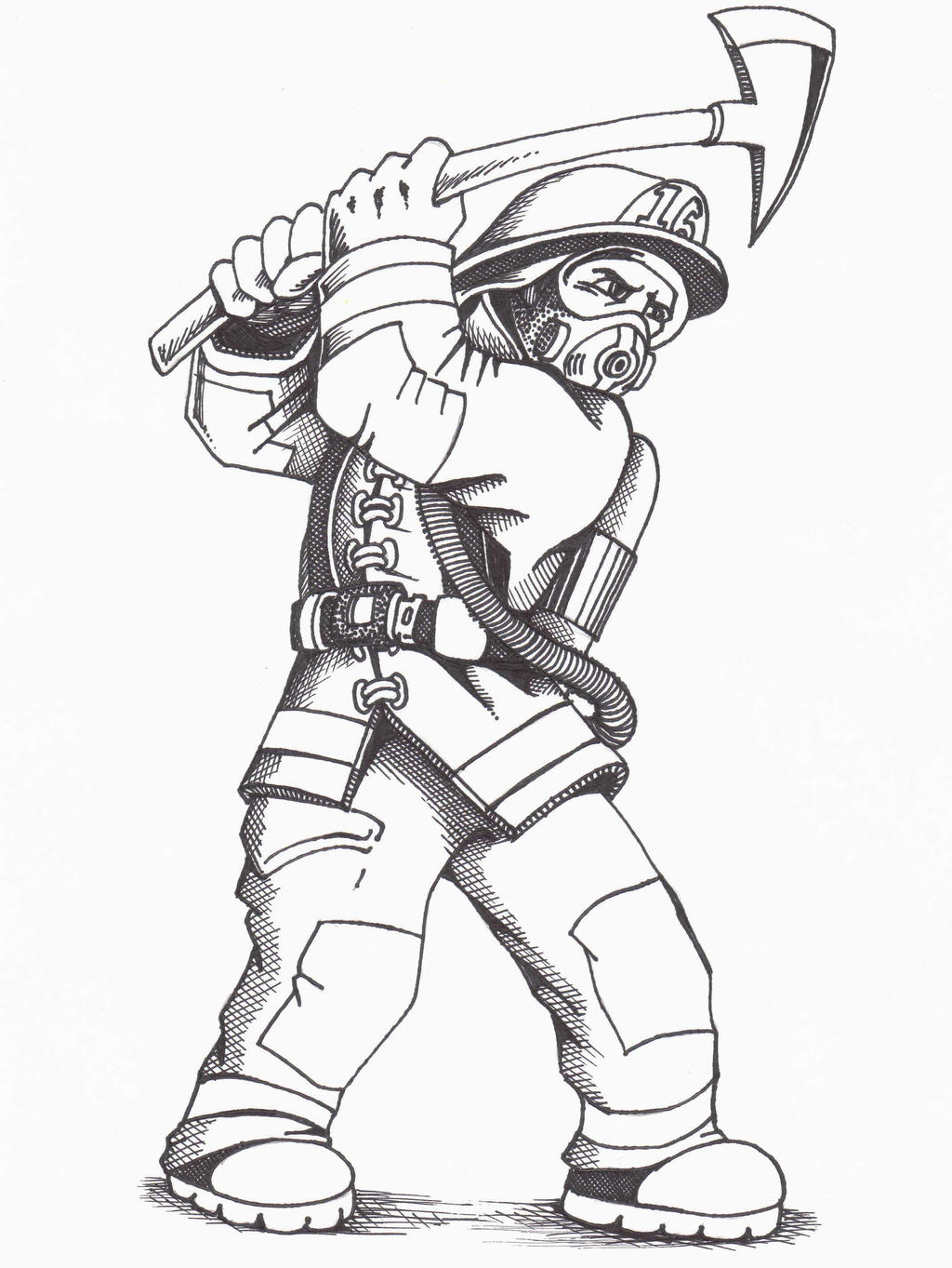firefighter coloring page sketch coloring page