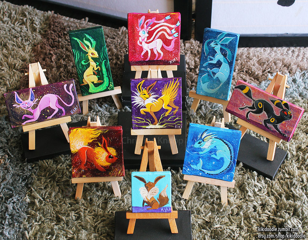 Eeveelutions mini paintings by kiki-doodle