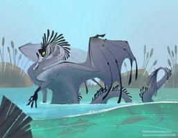 Great Blue Dragon by kiki-doodle