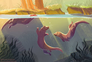 Otters Sunset