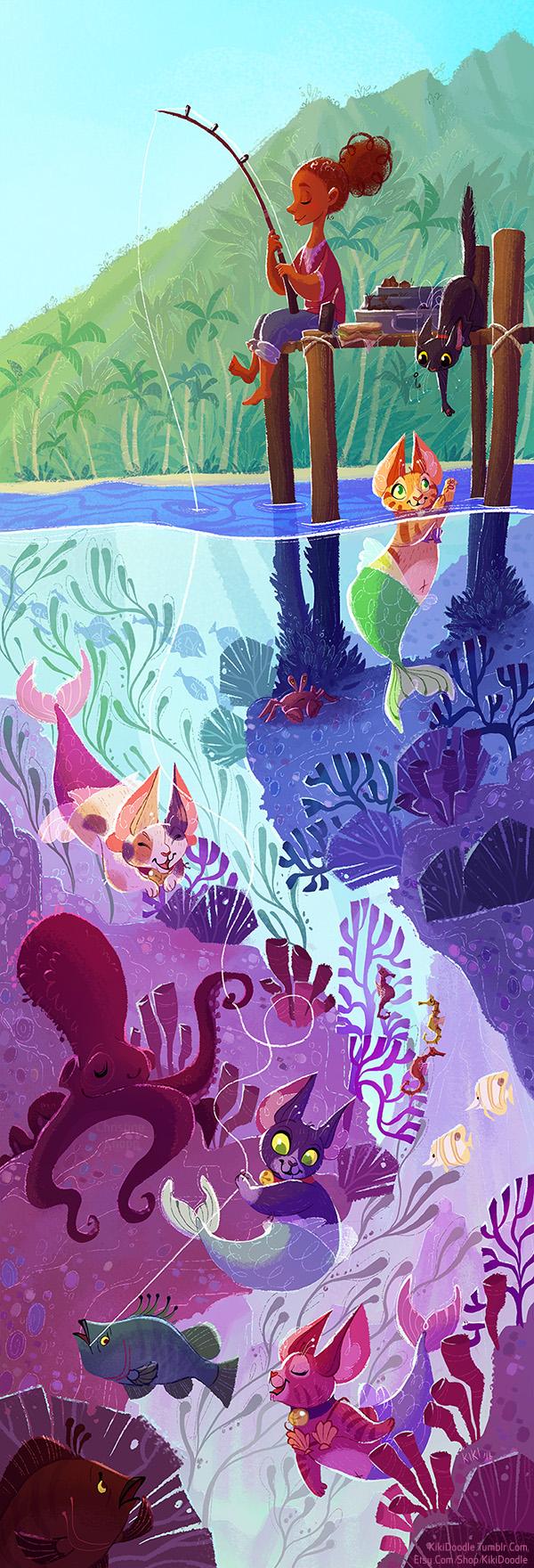 Purrmaid Fishing by kiki-doodle