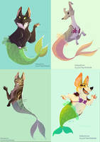 Purrmaids and grrmaids by kiki-doodle