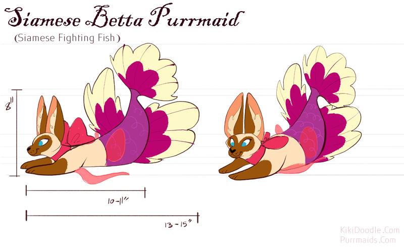 Siamese Betta Purrmaid Revealed by kiki-doodle