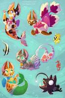 Purrmaid Sticker Sheet by kiki-doodle