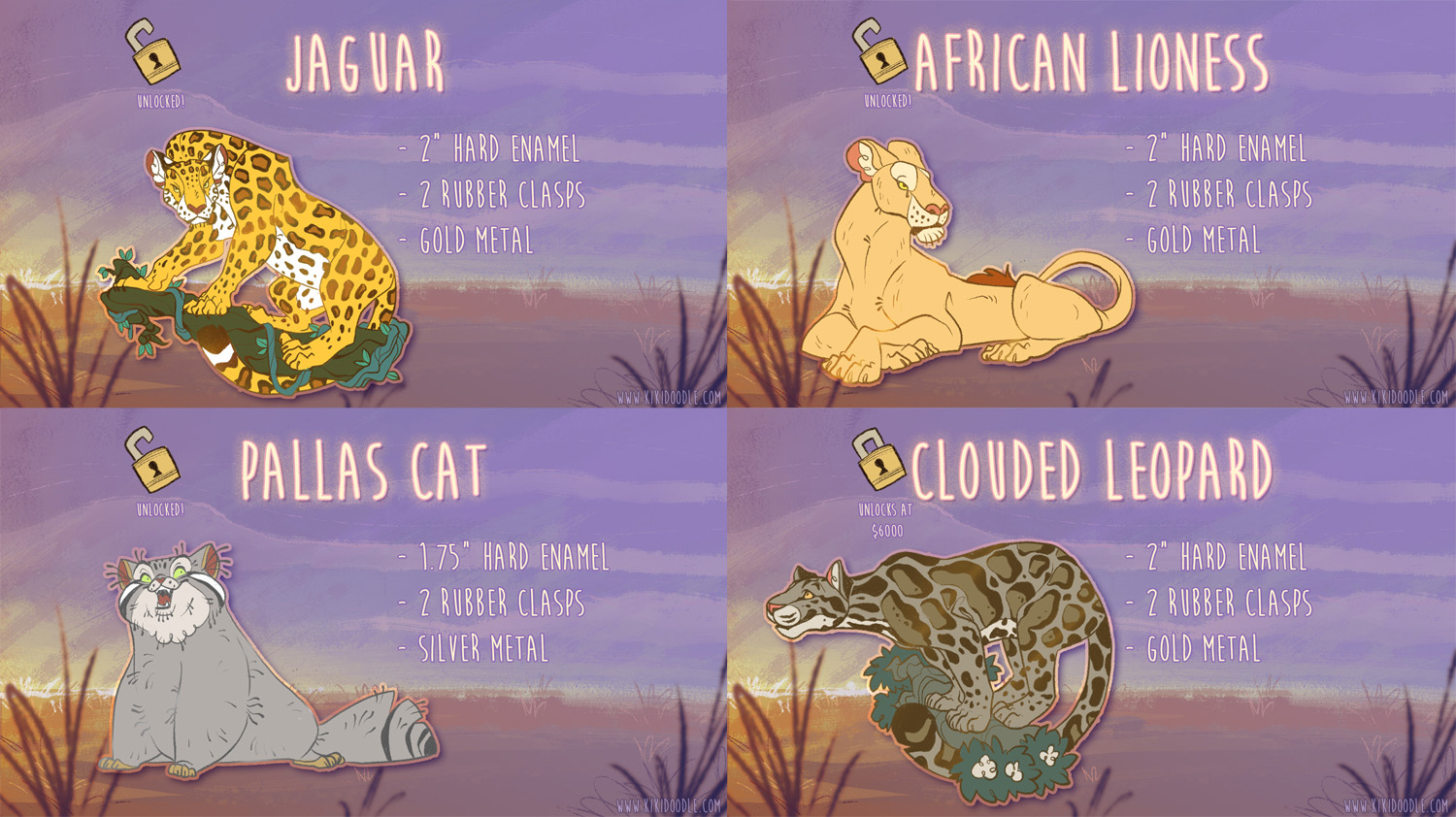 Big and Wild Cats Pin Kickstarter Update 1 by kiki-doodle