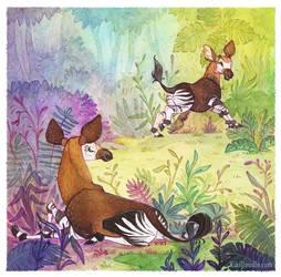 Okapi Family by kiki-doodle
