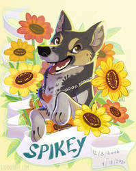 Spikey memorial pet portrait