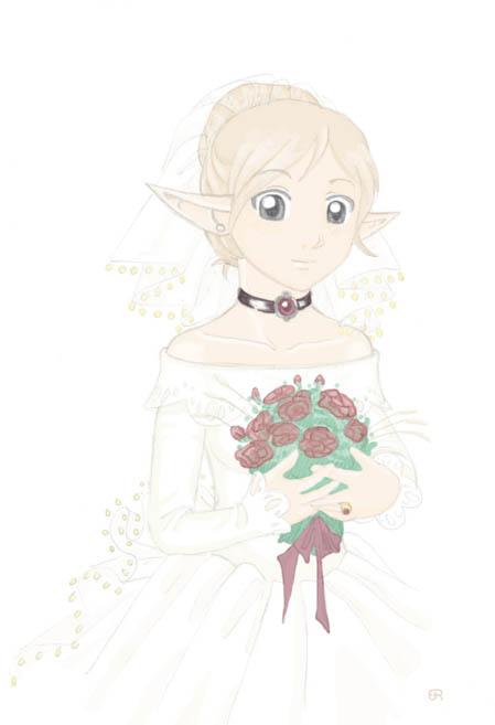 Noelle in wedding dress by Aeonna