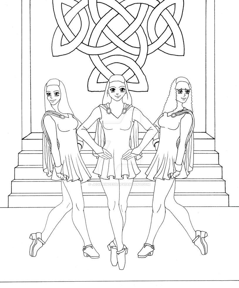 Irish princess coloring pages - Irish Dancers Lineart By Jediprincess