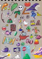 Doodles for the back of my sketchbook