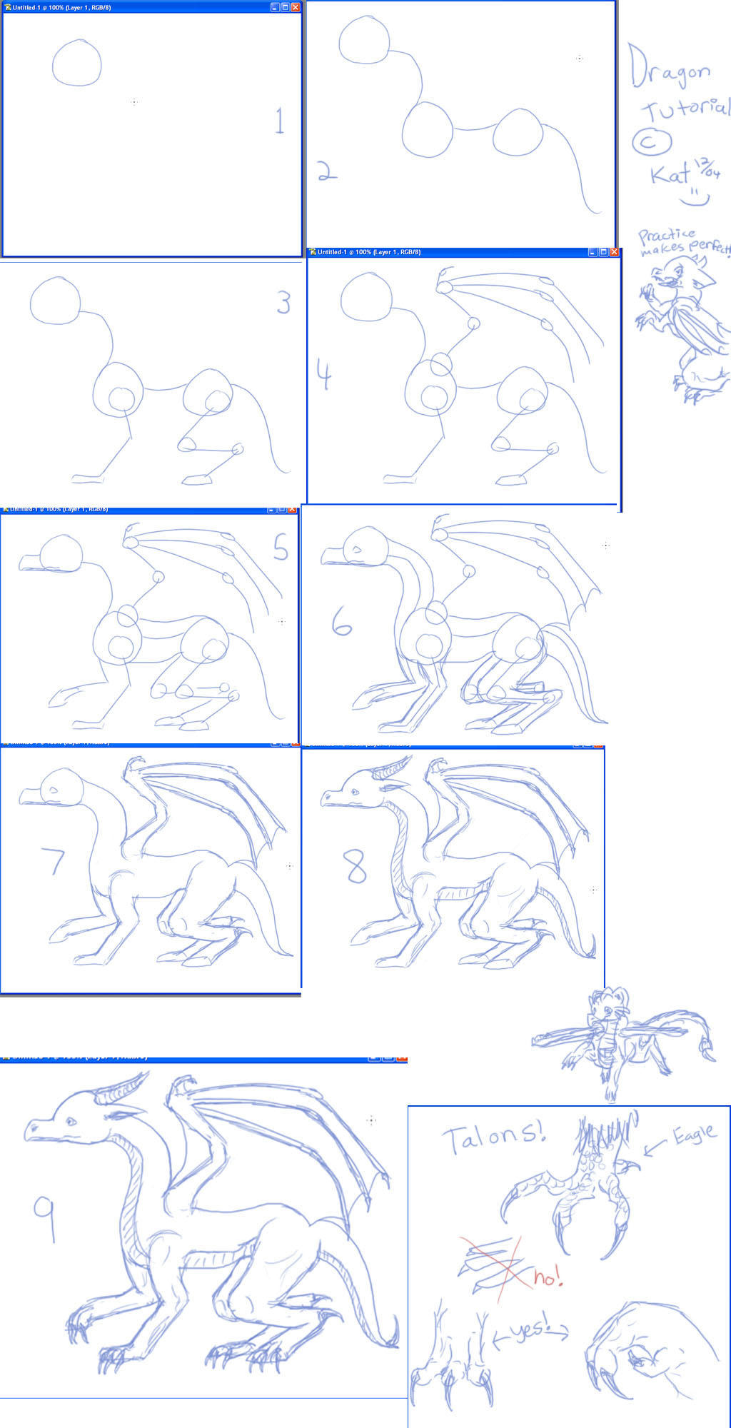 Basic Dragon Tutorial by kalicothekat