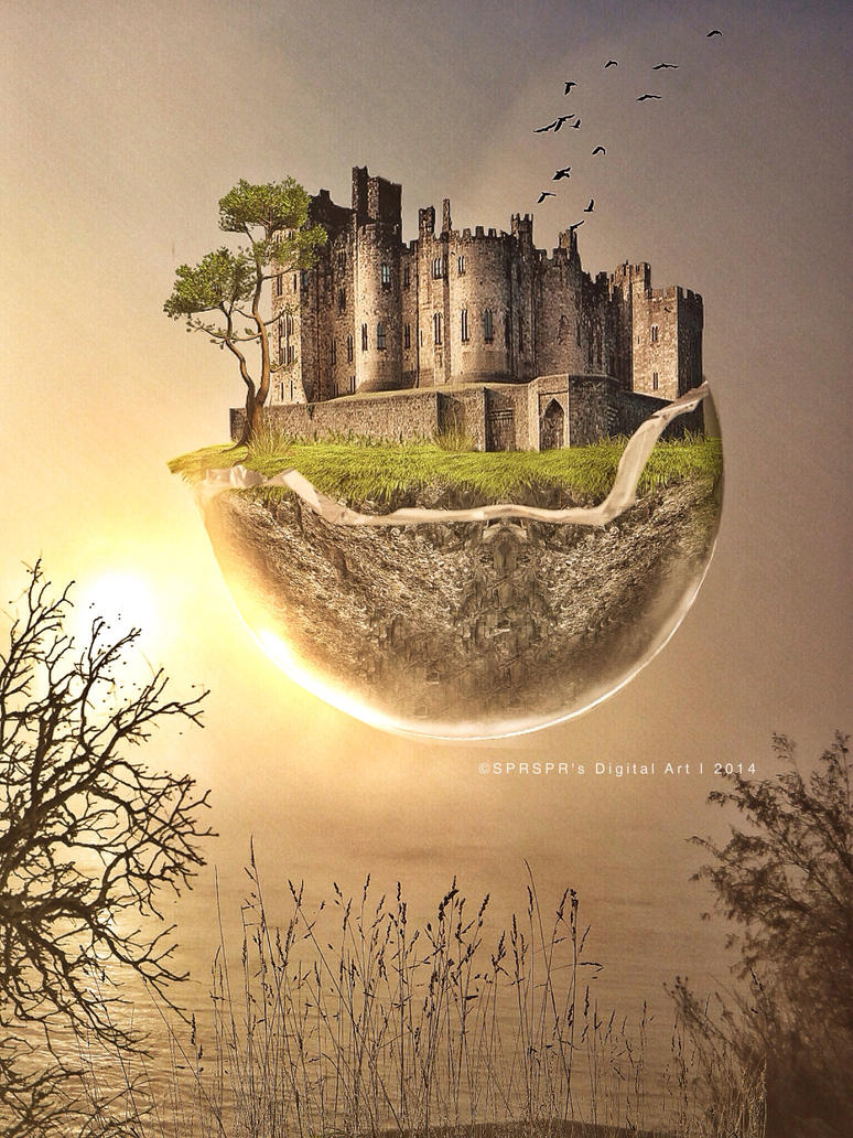 Castle in the sky by SPRSPRsDigitalArt