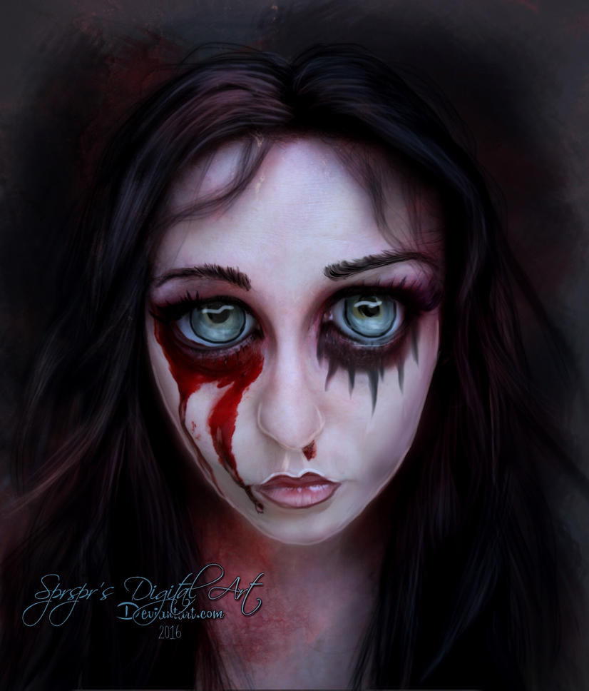 Gothic Big Eyes by SPRSPRsDigitalArt